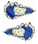 SMALL Long Pair Ripped Metal Design With Yorkshire Rose County Flag Vinyl Car Sticker 73x41mm